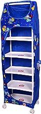 Tender Care India Multipurpose 6 Shelves Foldable Almirah Box with Wheels (Blue)