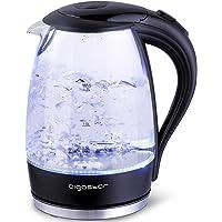 Aigostar Adam 30GOM   Bollitore d  39 acqua in vetro borosilicato con illuminazione a LED  2200W  1 7L e Color Nero  Protezione Boil dry  BPA FREE  Design Esclusivo