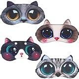 CBGGQ 4 Pezzi Mascherine per Dormire Animali, Maschera per Gli Occhi Lanuginoso Sveglio per il Sonno Viaggio Visiera Traspira