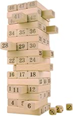 Magicwand Wooden Jenga Toy with 4 Dices (Wooden) - 51 Pieces