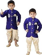 JBN Creation Boys Cotton Silk Kurta and Pyjama Set (Blue_VASBCO017)