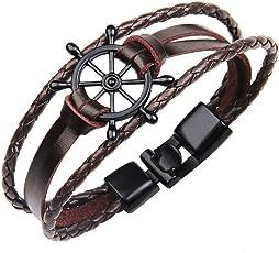 The Jewelbox Boy's Non-Precious Wheel Anchor Metal Leather Multi-Layer Wrist Band Strand Bracelet (B1900WWSTII-DA-I, Brown)
