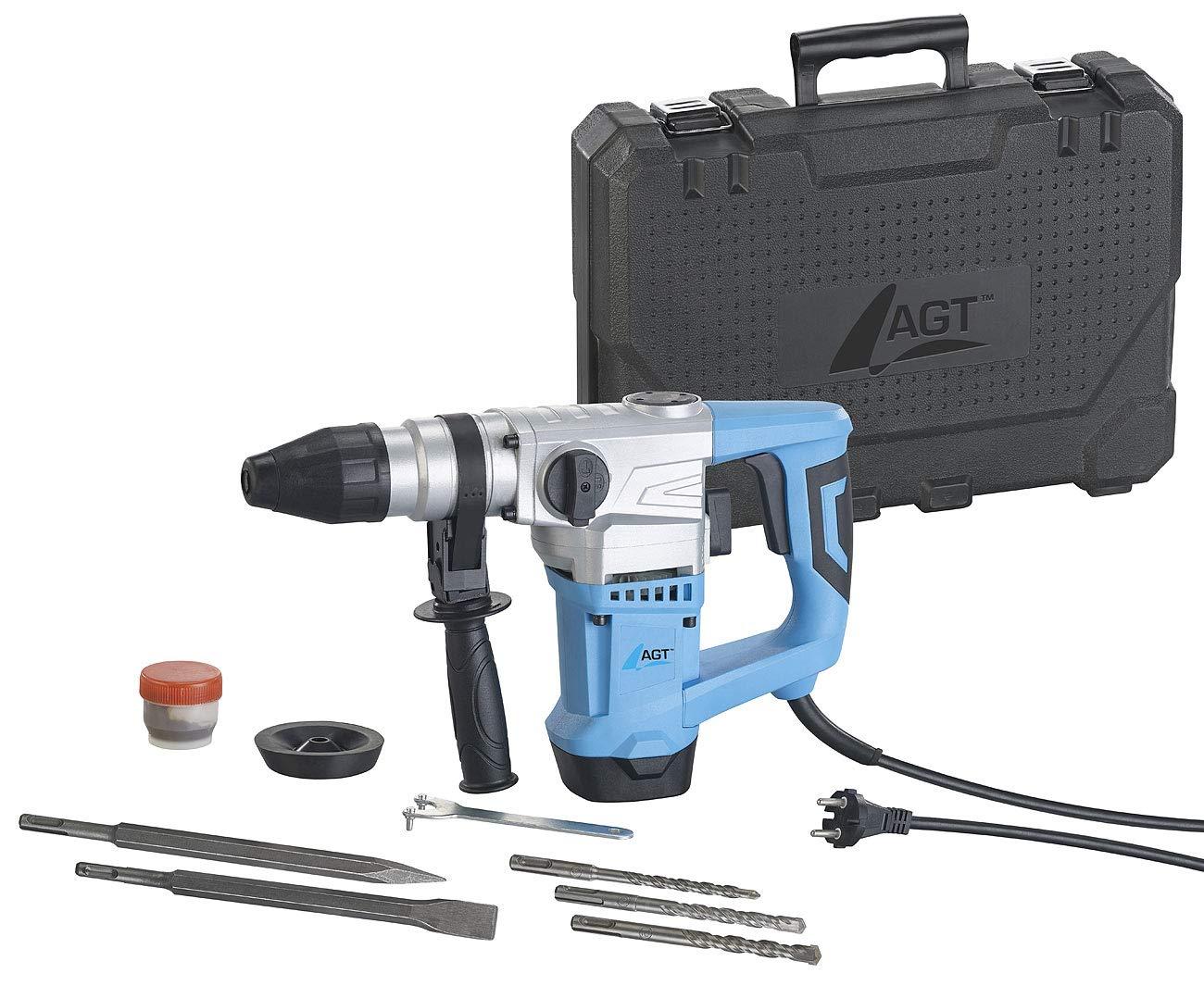 AGT Schlagbohrmaschine: Bohrhammer mit 5-teiligem Bohrer- und Meißel-Set, SDS Plus, 1.010 Watt (Abbruchhammer)