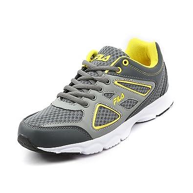 fila running shoes. fila men\u0027s super runner plus 2 grey \u0026 yellow rubber running shoes (8 uk/