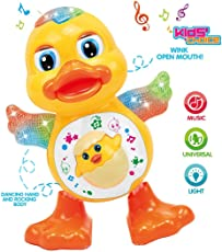 Dancing Duck with Music and 3D Flashing Lights for Babies, Toddlers, Girls and Boys | Perfect Birthday (Return) Gift for Your Baby Under 400 Yellow Color