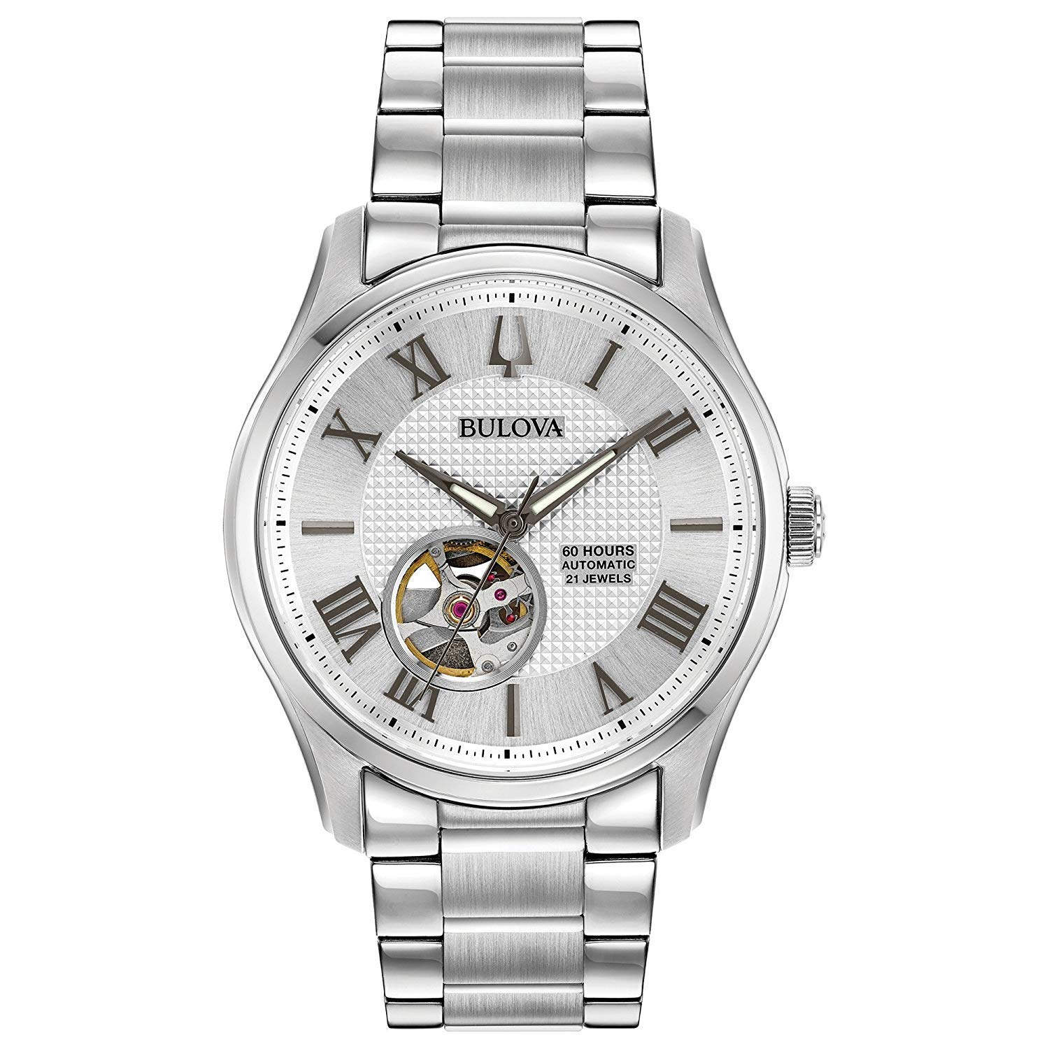 Bulova Mens Skeleton Automatic Watch with Stainless Steel Strap 96A207