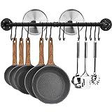 Toplife Barre de Cuisine Industrielle, 80 cm Porte Casserole Mural Cuisine, Support de Pot en Fer avec 14 Crochets pour Usten
