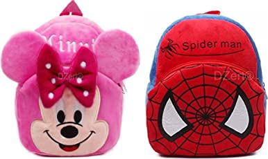 Kids School Bag/Nursery/Picnic/Carry/Travelling Bag Soft Plush Backpack School Bag for Kids- 2 to 5 Age - Pack of 2 (Minnie & Spidr)