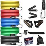 AGM Set di Fasce di Resistenza,5 Bande Elastiche in Lattice con Maniglie,Resistenza a 100 LB Elastici Fitness, per Attrezzi d