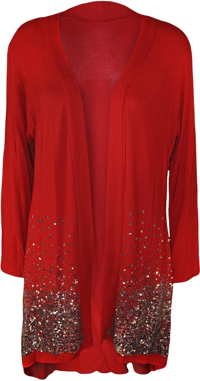 New Plus Size Ladies Sequin Cardigan Long Sleeve Womens Sparkle ...