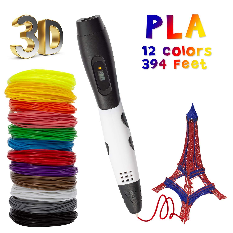TOROTON 3D Stylo, Stylo d'impression 3D avec écran LCD, 12 couleurs différentes de filament PLA de 1,75 mm, chaque couleur 10 m, total 120 m, cadeau parfait pour les enfants et les adultes