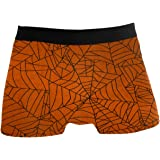 N\O Halloween Skull Spiderweb Mens Boxer Brief Shorts Underwear Breathable Stretchy Swim Trunks Gifts for Youth Boys
