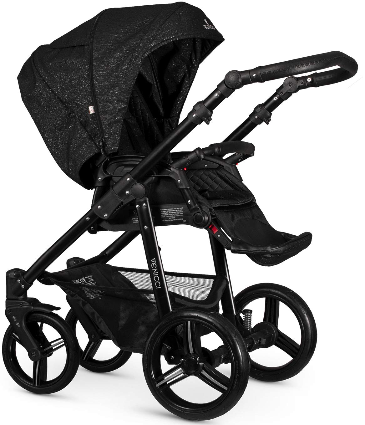 Venicci Shadow 2-in-1 - Starlight Travel System Venicci Also includes: Changing bag, Apron, Rain cover, Mosquito net, Cup holder Carrycot: L 102cm W 61cm H 112 cm Age suitability: From birth to 6 months Seat unit: L 95cm W 61cm H 112cm Age suitability: From 7 to 36 months 2