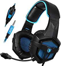 SADES SA-807 PlayStation 4 Pro Xbox uno S auricolare stereo over-ear Gaming Cuffie con microfono per PC PS4 iPad Mobile Tablet Mac (nero e blu)