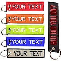 Brillianne Portachiavi personalizzato, portachiavi ricamato personalizzabile con il tuo testo, tag con portachiavi…