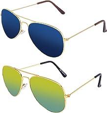 Silver Kartz Boy's Cellulose Acetate Classic Aviator Combo Pack Sunglasses (AV036|40|Green,Blue)