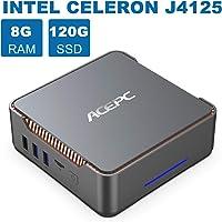 Mini PC,Intel Celeron J4125,8GB RAM+120GB ROM,Windows 10 Pro(64-bit),Supporto 2.5'' SATA SSD/HDD,Dual WiFi 2.4/5G, Bluetooth 4.2,4K HD,2 HDMI+1 VGA +USB 3.0 Porta AK3 Mini Computer Desktop