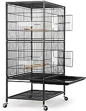 Yahee 2/3 Ebenen große Vogelkäfig Voliere für Chinchilla Kakadu Papagei Finch Vogel mit Sitzstange und Räder