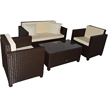 jet line gartenmoebel garten lounge set sitzmoebel cannes braun rattan lounge. Black Bedroom Furniture Sets. Home Design Ideas