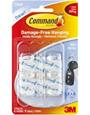 Command Mini Hooks, Transparent, Holds 225 gm, (6 Hooks, 8 Strips), No Drilling, Holds Strong, No Wall Damage