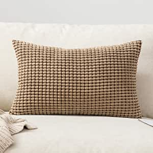 MIULEE Corduroy Granule Fabric Square Throw Pillow Case Solid Cushion Cover Sham Home for Sofa Chair Couch Bedroom Decorative Pillowcases 12x20 inch 30x50cm 2 Pieces White