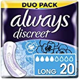 Always Discreet Incontinence Pads for Women, Long, 20 High Absorbency Pads