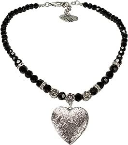 Alpenflüstern, collana di perle con amuleto a forma di cuore per abito tradizionale, collana da donna per Dirndl, colore: nero e bianco crema, DHK102