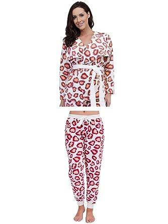 Womens Luxury Leopard Nightwear Range Pyjama Set Pjs Pj\'s Robes ...