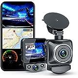 ANKEWAY Cámara de Coche Doble Dash Cam con WiFi y GPS, Doble 1080P Full HD 170° Gran Angular con HDR, G-Sensor, Detección de