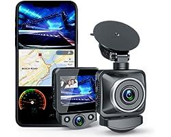 ANKEWAY Double Caméra Embarquée WiFi et GPS Intégrés, 1920X1080P Full HD Caméras de Avant et de Cabine, LCD de 2,0 po | HDR |
