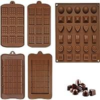 5 Pièces Moule à Chocolat en Silicone, Moule à Praliné au Chocolat, Moules à Tablette de Chocolat Anti-adhésifs, pour…