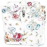 Belli kleine edle ital. Leder Handtasche Umhängetasche Farbauswahl - 18x20x8 cm (B x H x T) (weiß blume)
