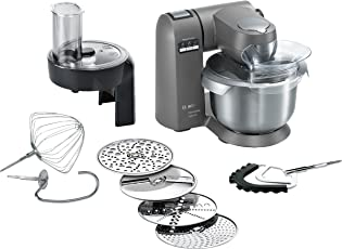 Bosch MUMX30GXDE Küchenmaschine MaxxiMUM (1600 W, SensorControl Automatikfunktion, 5,4 L Edelstahl-Rührschüssel, 3D PlanetaryMixing, Smart dough sensor), granite grau