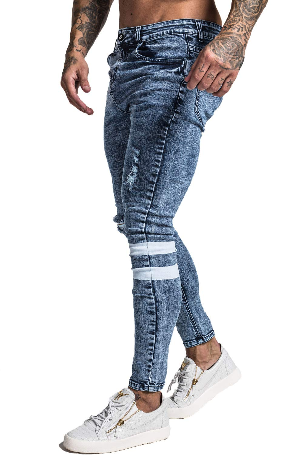 778e7d1dad87 GINGTTO Men's Ripped Jeans Stretch Slim Fit Denim Ice Blue 28 Waist ...