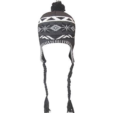 Boy's Fairisle Design Peru Thermal Winter Bobble Hat with Ear ...