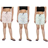 CIERGE Women's Cotton Printed Shorts Free Size (Pack of 3)