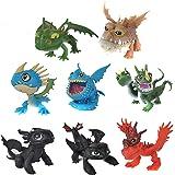 MINGZE 8pcs Dragons, How to Train Your Dragon, Mini, Multicolore