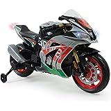 INJUSA – Moto Racing Aprilia 12V con Licencia Oficial de Marca con Luces y Sonidos y Acelerador en Puño Recomendada a Niños +