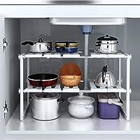 Étagère de rangement extensible sous l'évier en acier inoxydable - Organiseur de cuisine réglable