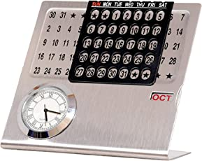 Decor Big Size Perpetual Calendar with Clock Never Ending Date Calendar for New Year Gift for Home, Office & Corporate Gift (15 cm x 15 cm x 5 cm)