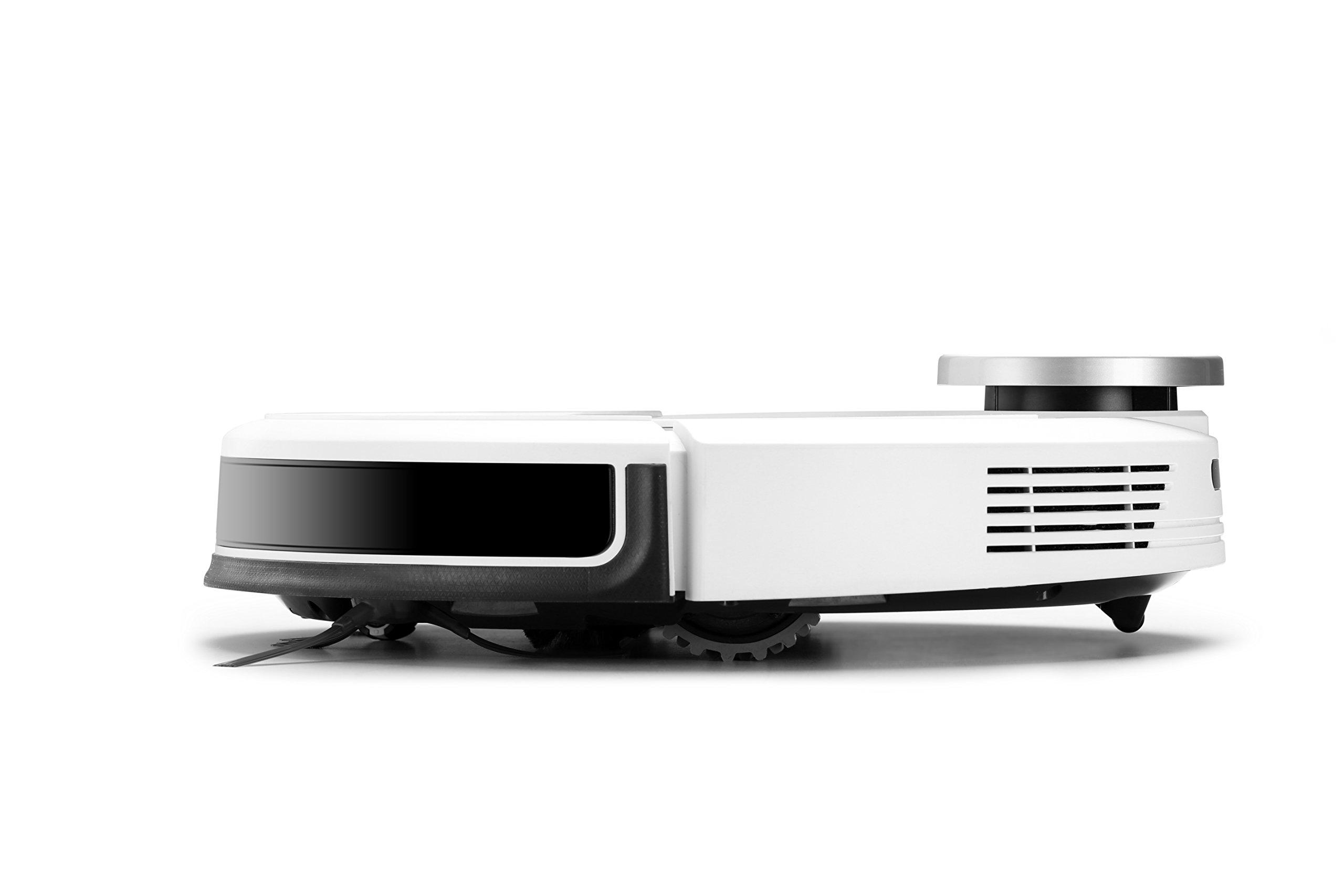 Ecovacs DEEBOT 900 Robot Aspirador con navegaci/ón laser inteligente adecuado para suelos duros y alfombras barreras virtuales y control mediante app Blanco 67 Decibeles