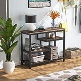 Table console industrielle avec 2 étagères, 107 x 40 x 75 cm