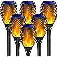 Fortand Lumières Flamme Solaire, 6 Pack Lampe Torche de Jardin LED Solaire Lumière Lampe Etanche IP65 Éclairage Torche Solair