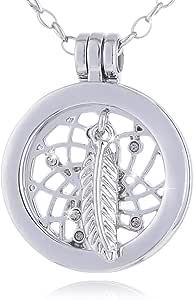Morella Collana Donna in Acciaio Inox 70 cm con Small Coins Moneta Ciondolo Rotondo 23 mm in Sacchetto di Velluto