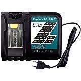 FUNMALL 14.4V-18V 7A Cargador de Repuesto con Pantalla LCD para Makita DC18RC Cargador Rápido de Baterías BL1860 BL1850 BL184
