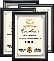 Umi. Essentials Cornici Foto da tavolo e parate formato A4, per certificati e fotografie, colore nero, 4 pezzi
