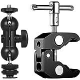Lammcou Supporto per monitor fotocamera + vite adattatore slitta + supporto morsetto per luce LED, registratore videocamera,