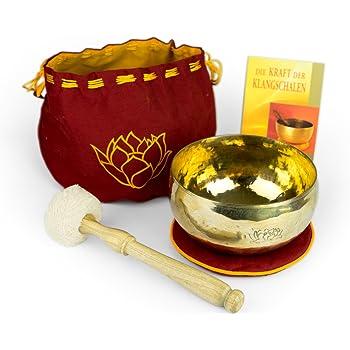 Klangschalen-Set Lotusblüte, inkl. rotem Pad, Aufbewahrungsbeutel, Holz-/Fleeceklöppel sowie einem Buch -2153-A-