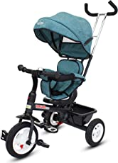 Baybee Mario Sportz - The Stylish Plug and Play Baby Tricycle with Canopy and Parent Control (Now with Rubber Wheels) ( Blue )