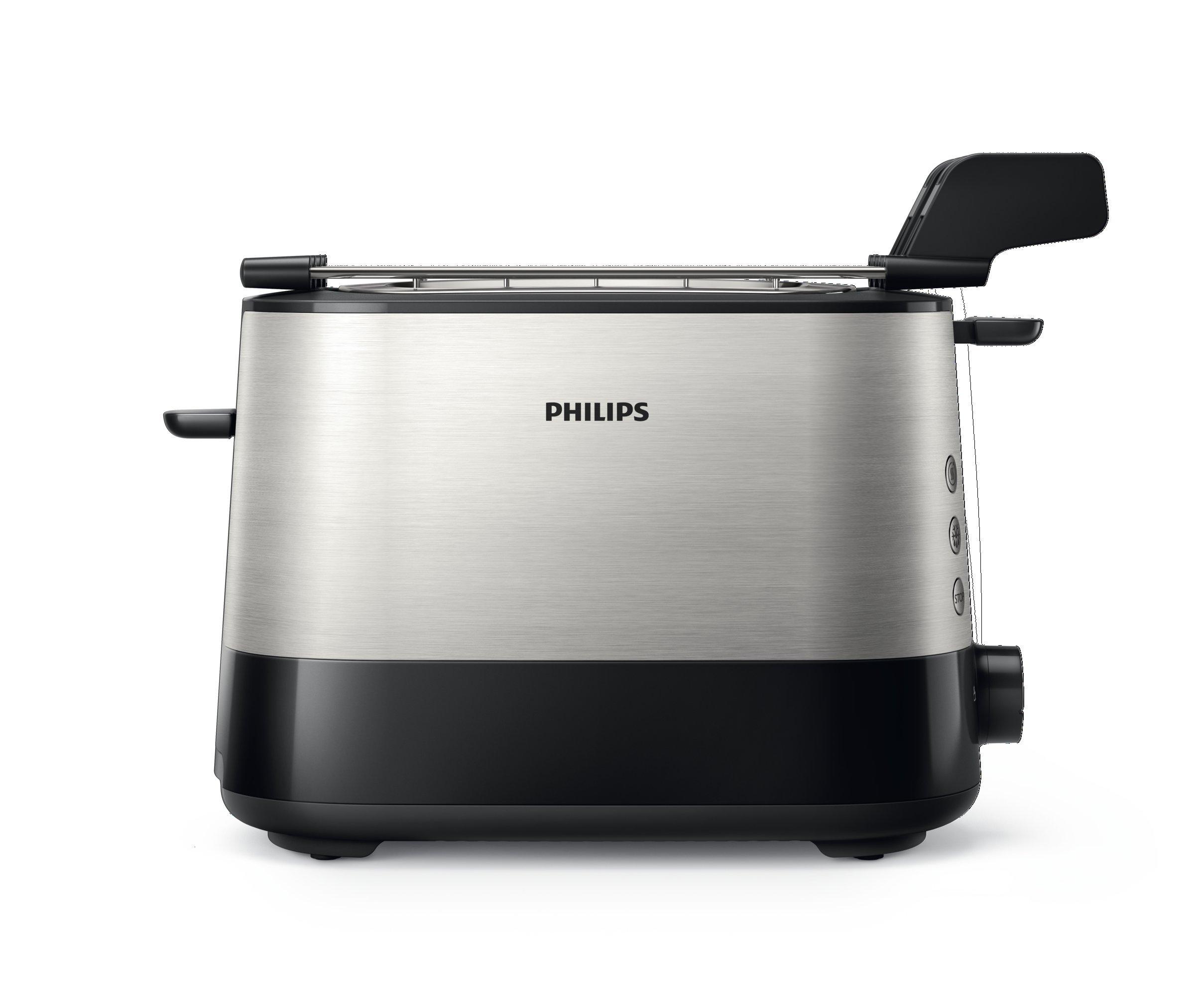 Philips-HD263990–Toaster-730-W-extra-groer-Schlitz-Zubehr-fr-Sandwichs-Schwarz-und-Silber